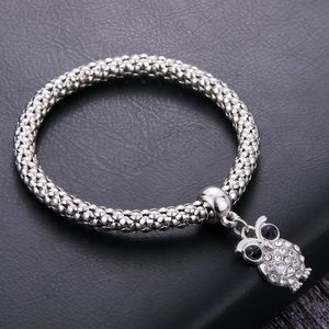 Bracelet- New- Owl Silver Stretch Bracelet